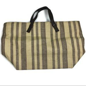 Cole Haan Striped Straw Leather Bottom Tote Bag